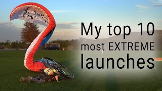 The time I stopped traffic with my paramotor! - My top 10 launches