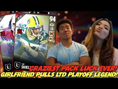 GIRLFRIEND PULLS RARE PLAYOFF LEGEND! WTF ARE YOU KIDDING!? MADDEN 17 ULTIMATE TEAM PACK OPENING!
