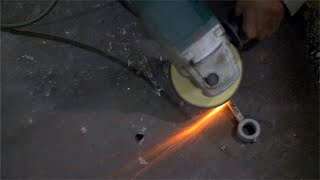 Fire flames during the metal grinding process in an industrial unit in India