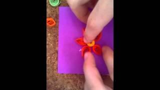 Уроки квиллинга:композиция с цветком
