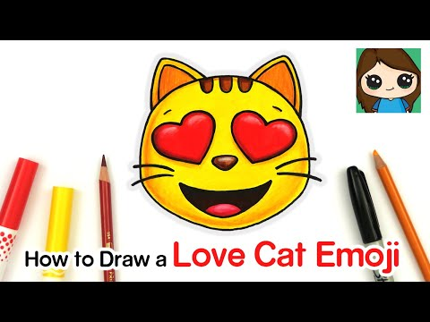 How To Draw The Smiling Cat Heart Eyes Love Emoji Easy