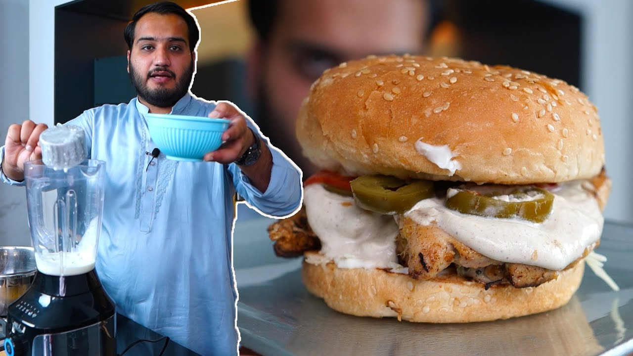 Download Chicken Grill Burger with Creamy Sauce at Home