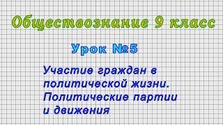 Обществознание 9 класс (Урок№5 - Участие граждан в политической жизни.)