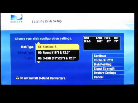 How to change a Directv Receiver settings to make different satellite dishes compatible