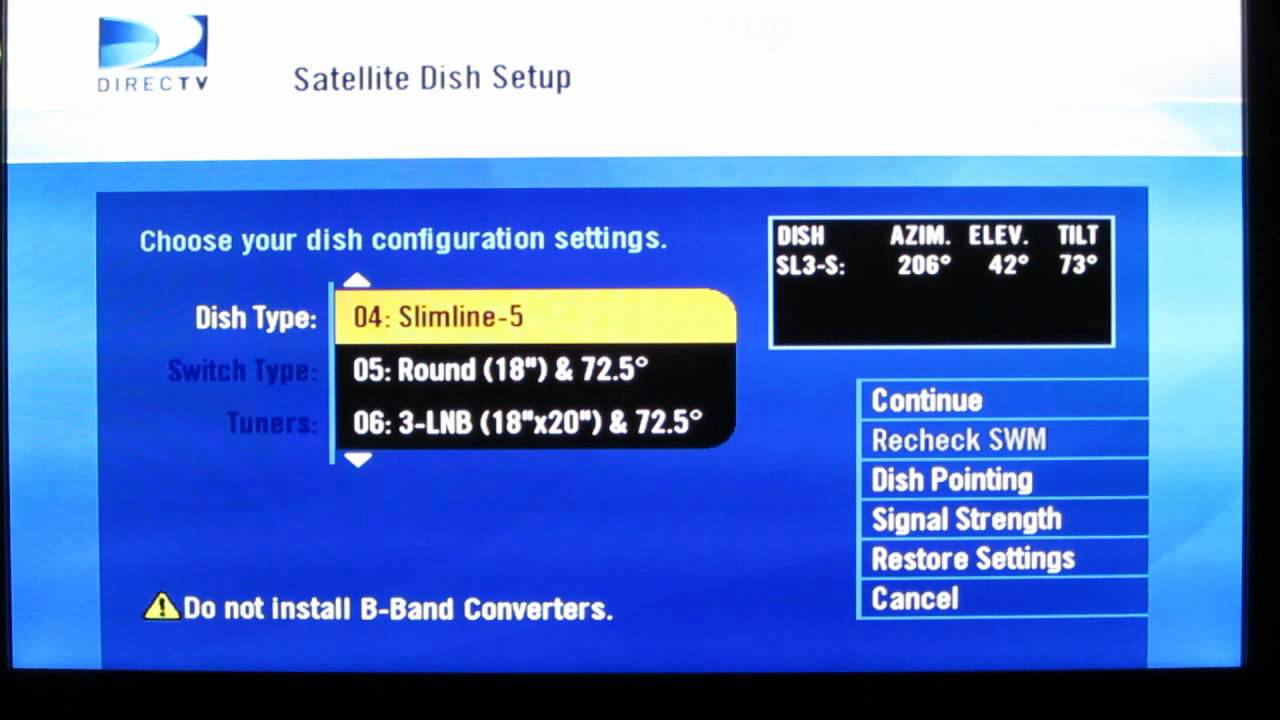how to change a directv receiver settings to make different satellite dishes compatible youtube [ 1280 x 720 Pixel ]