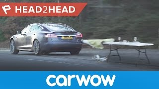 Tesla Model S P100D acelleration standing 1/4 mile, 0-60mph and launch ferocity | Head2Head
