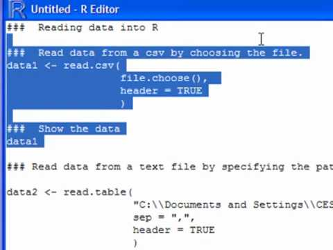 how to read data set into r