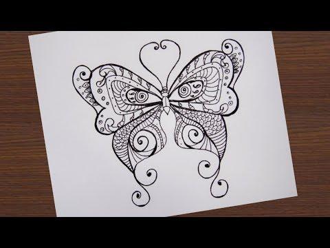 วาดผีเสื้อ ลายเส้นสวยๆ | How to draw Line |Butterfly Drawing