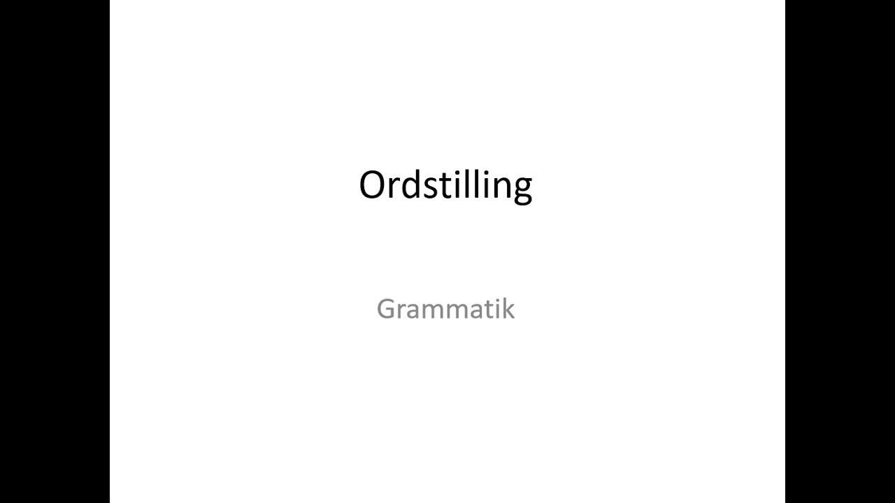Ordstilling på tysk