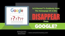 Is It Normal To Suddenly Have The Homepage Of A Site Disappear From Google?
