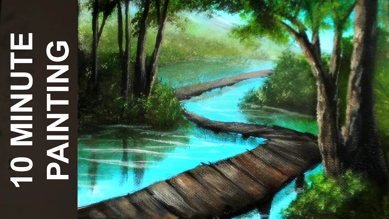 Painting A Boardwalk Through The Forest River With
