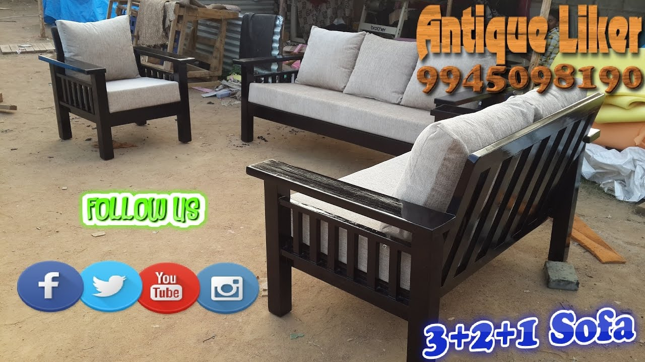 Furniture decor rubber wood 3 2 1 woodies sofa set with 6 inche cushion seats