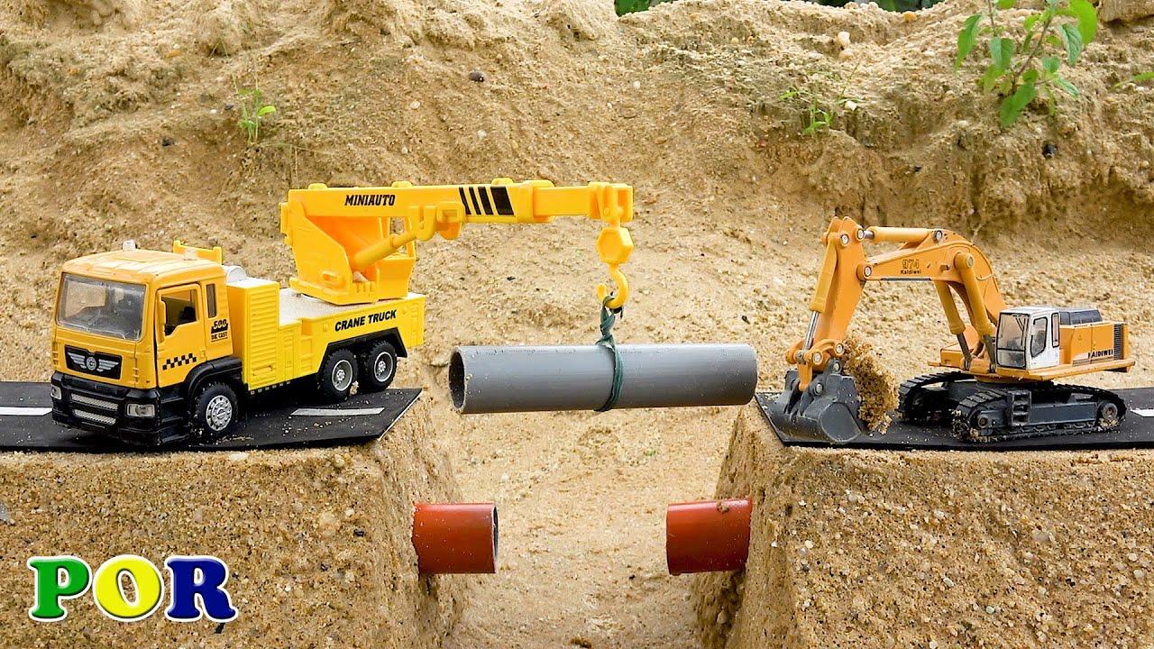 Brinquedos para crianças caminhoes caminhão guindaste escavadeira e carros video para criança