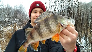 С ТАКИМ ОКУНЕМ, И ЩУКИ НЕ НАДО! Зимняя рыбалка на реке!