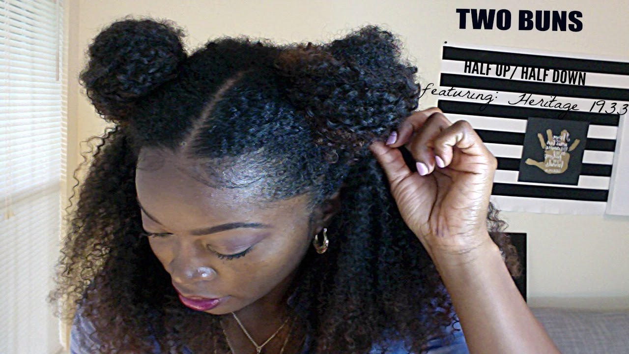 Two Buns Half up Half Down Natural Hairstyle with a u part ...
