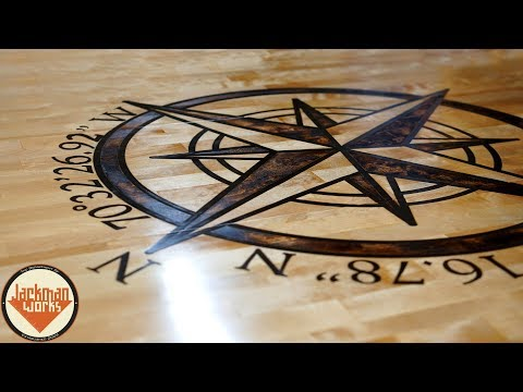 Epoxy Inlay and Rustic Compass Butcher Block Countertops