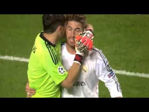 Iker Casillas Kisses Sergio Ramos for the last Minute Goal
