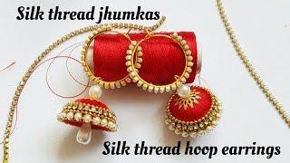 How To Make Silk Thread Jhumkas Hoop Style|Ring style silk Thread Jhumkas