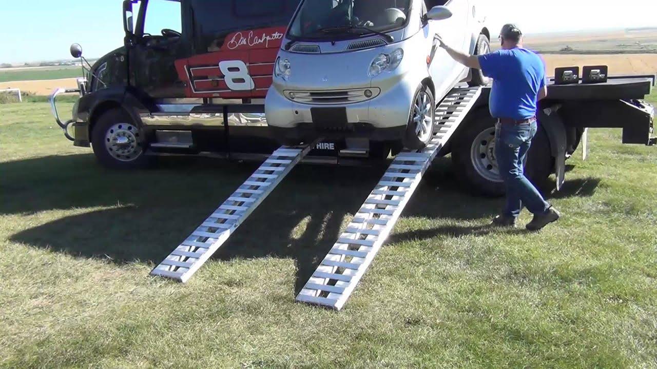 RVHauler Loading and Unloading Smart Car on a Hauler Bed ...