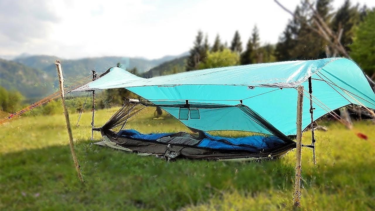 Hammock Ground Set-up No Trees As One Person Tent - Tarp Tent & Hammock Ground Set-up No Trees As One Person Tent - Tarp Tent ...