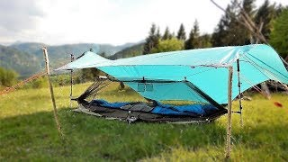 Hammock Ground Set-up, No Trees, As One Person Tent - Tarp Tent