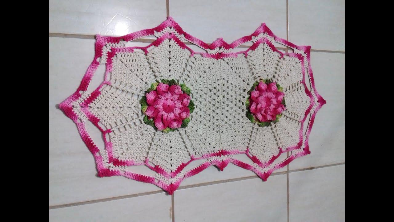 Jogo de Banheiro em Crochê Tapete Pia # Flor Jade  YouTube -> Pia De Banheiro Oval