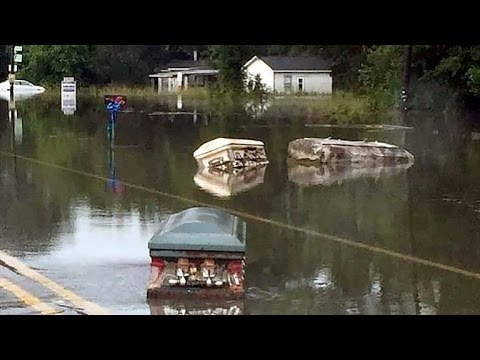 eerie coffins seen floating through flooded louisiana streets youtube