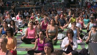 Yoga Day: Serenity at New York's Times Square