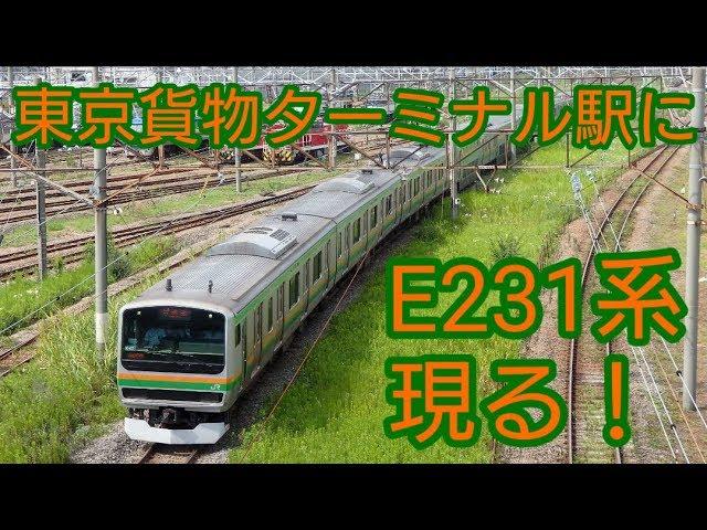東京貨物ターミナル駅 ハンドル訓練でE231系入線! - YouTube