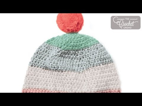 How to Crochet 🍰  Caron Cupcakes Pompom Hat: 2 - 10 Years Old