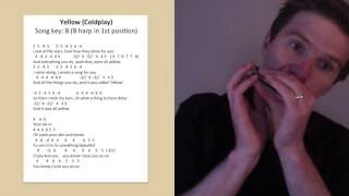 Coldplay - 'Yellow' harmonica lesson: How to play Yellow by Coldplay on C diatonic harmonica