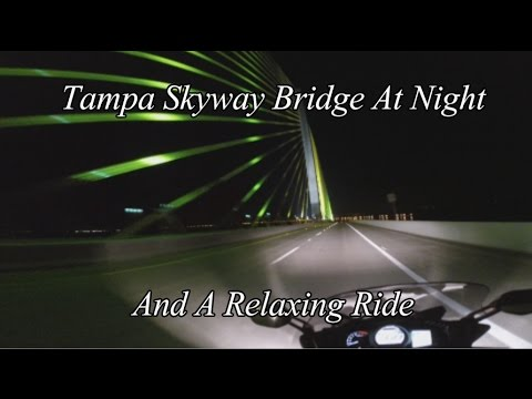 Tampa Skyway Bridge At Night On A FJR 1300