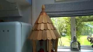Lovely Big Wooden Conical Bird Table/house with Cedar roof tiles.