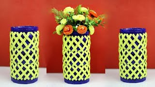 Beautiful Flower Vase Making at Home | Big size Stylish flower Vase Out of Waste Material | DIY Vase