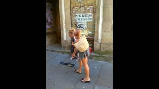 street performer ave maria santiago de compostela