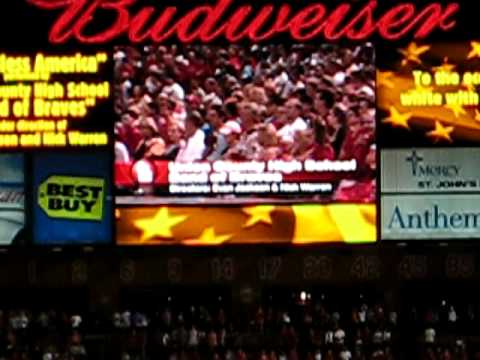 Union County High School band performing at Busch Stadium