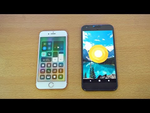 iPhone 7 iOS 11 vs Google Pixel Android O Beta - Speed Test! (4K)