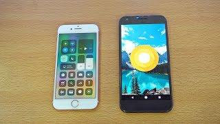 iPhone 7 iOS 11 vs Google Pixel Android O Beta - Speed Test! (4K)