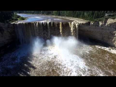 Aerial view of Alexandra Falls - Hay River Northwest Territories Canada