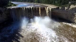 Aerial view of Alexandra Falls - Hay River Northwest Territories Canada