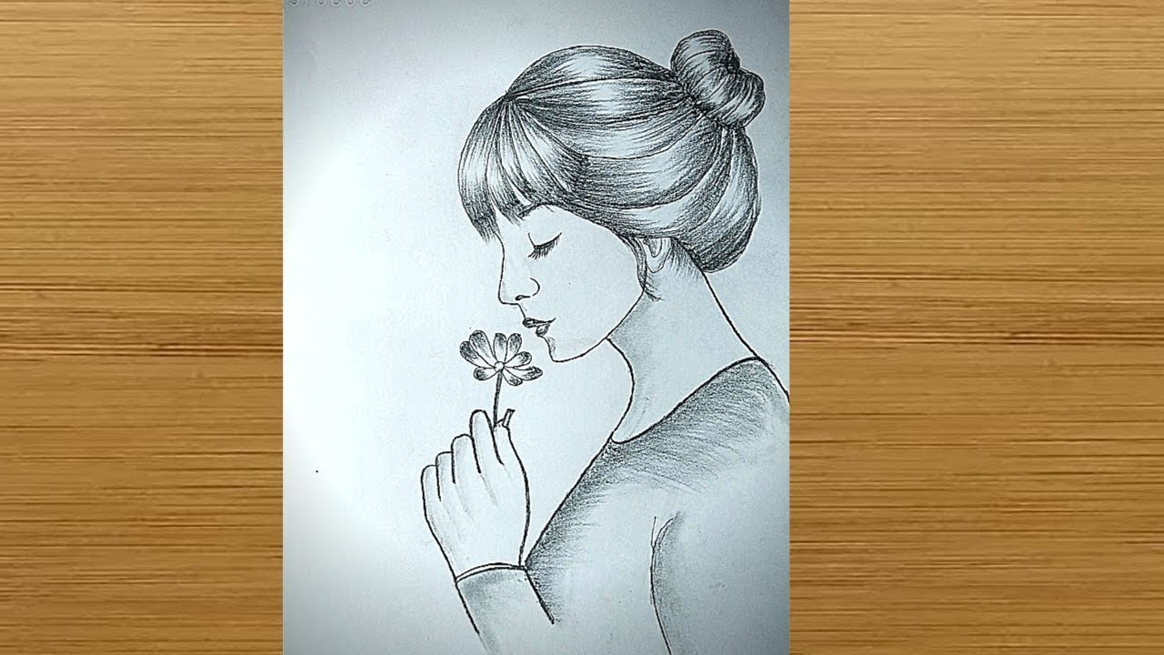 How to draw a girl Holding Rose for beginners || Pencil sketch || bir kız nasıl çizilir.
