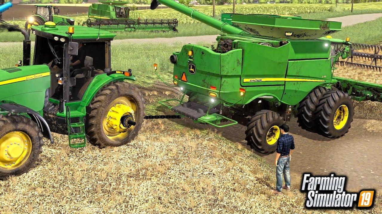 JOHN DEERE COMBINE GETS STUCK IN MUD HOLE! (ROLEPLAY) | FARMING SIMULATOR  2019