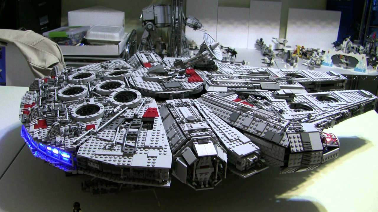 lego millenium falcon modified with leds youtube. Black Bedroom Furniture Sets. Home Design Ideas
