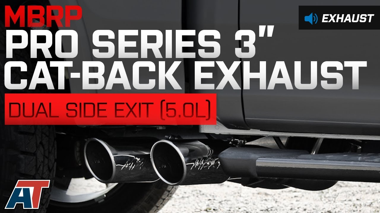 2015 2016 f150 mbrp pro series 3 cat back dual side exit exhaust 5 0l sound clip install