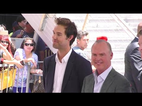 MICHAEL KEATON and writer son SEAN DOUGLAS team up at Hollywood Walk of Fame