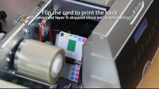 How a card printer works - printing and laminating a card on a Magicard Tango printer