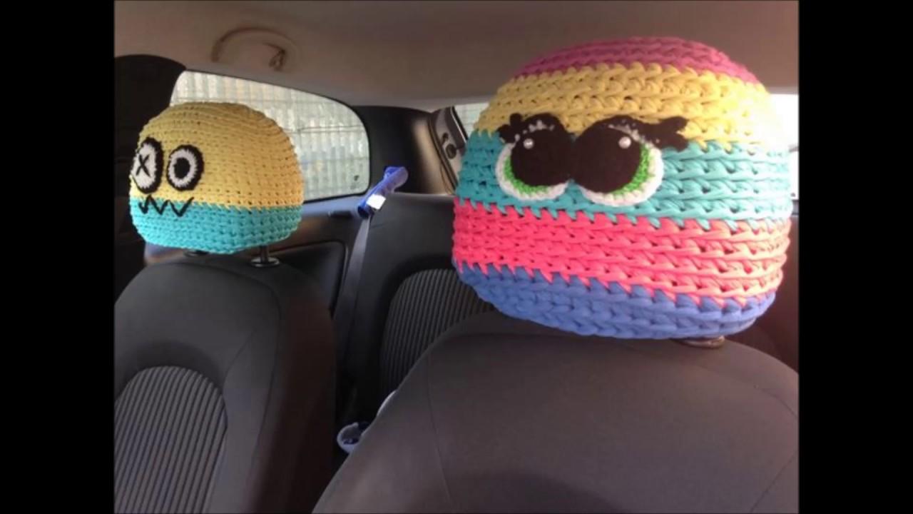 Crochet Car Front Seat Headrest Cover