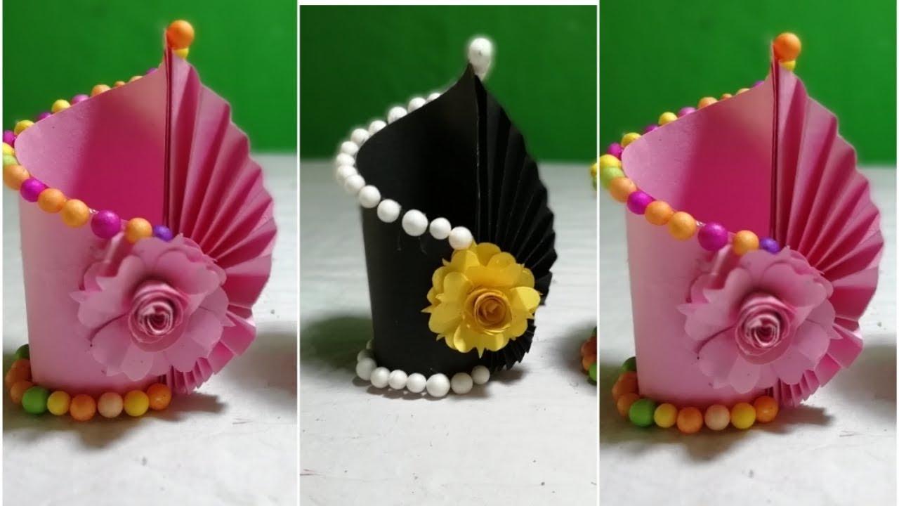 Making Paper Flower Vase How To Make A Flower Vase Art Home Simple Paper Crafte