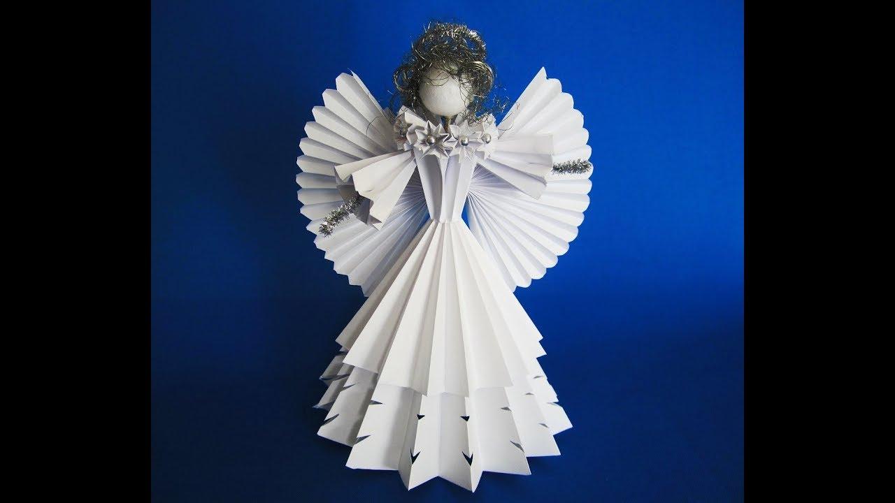 Diy 3d engel aus papier angel of paper youtube for 3d bilder basteln