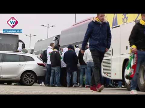 Supporters Legia Warschau vanaf ADO Den Haag naar Ajax in Amsterdam